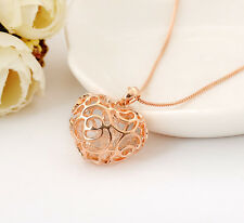 New Womens 18K Rose Gold GF Filigree Crystal Heart Locket Charm Pendant Necklace