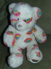"""Build A Bear White with Rainbows Teddy Bear 14"""" Plush"""