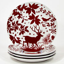 """Signature HOLIDAY SILHOUETTES 7"""" Dessert Plate Set 4Pc Christmas Red Reindeer"""