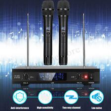 Professional UHF 2 CH Wireless Cordless Microphone System Handheld DJ Karaoke