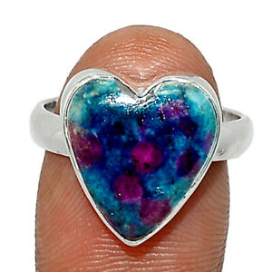 Heart - Ruby In Kyanite 925 Sterling Silver Ring Jewelry s.7 BR83863