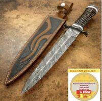 15inches Handmade CUSTOM LARGE DAMASCUS Forged DAGGER KNIFE BURL WOOD HANDLE