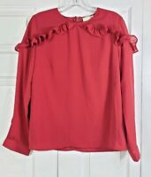 NWT RACHEL PARCELL womens size L red ruffled long sleeved blouse top