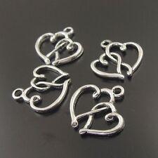 Free Shipping Tibetan Silver two heart 15pcs beads Charms Pendant 20x18mm@1