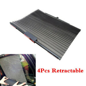 4 xCar Retractable Side Window Shield Sun Visor Mesh Sunshade UV Protector Black