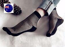 Women Lady Girl Retro Black Fancy chic Ankle Fishnet net mesh Shoes Short Socks