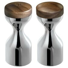 Robert Welch Limbrey Salt and Pepper Mill Set in Bright Stainless Steel and Waln