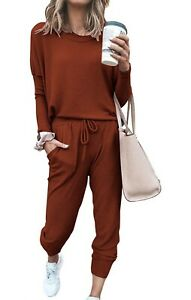 PRETTYGARDEN Women's Two Piece Outfit Long Sleeve Crewneck Pants Red Small