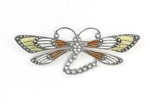 925er Silber emaillierte Jugendstil-Brosche Libelle m. Swarovski-Steinen 9901631