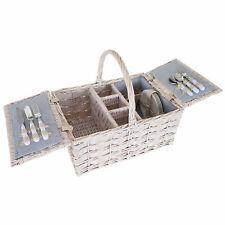 Picknickkorb-Set HWC-B12 für 4 Personen, Porzellan Glas Edelstahl, grau