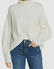 $195 French Connection Women's Beige Long-Sleeve High-Neck Cotton Sweater Size S