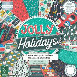 DOVECRAFT JOLLY HOLIDAYS PAPER 8 X 8 SAMPLE -16 SHEETS - POSTAGE DEAL