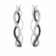 1ct Round Cut Black Diamond Infinity Style Drop Earrings 14k White Gold Over