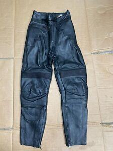 "EURO Ladies Leather Motorcycle Trousers UK 8 = 26""  Waist Short leg 25""  (T20)"