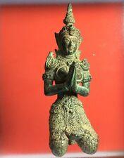 Rare Thai Guardian Angel Praying Thepanom Kneeling Buddha Amulet Holy Statue Old