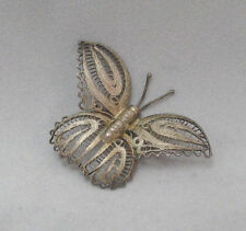 Fused Butterfly Pin Brooch Mexico * Vintage Rare Sterling Silver Wire Etched
