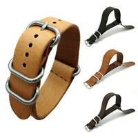 100% Genuine Leather Men's Army Military Buckle Watch Band Strap 18/20/22mm