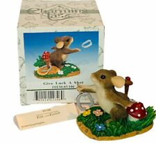Charming Tails figurine vtg Nib box mouse mice Give Luck a Shot horseshoe 83/106