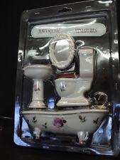 DOLLHOUSE 4-PC. PORCELAIN BATH ROOM SET/ PINK ROSE