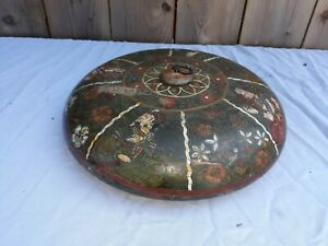 Antique Asian Indian ? Persian ? Turned Wood Bowl with  Miniature Painting
