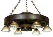 "30"" Cast Downlight Wagon Wheel Chandelier Light - Antler Made in USA"
