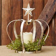 New distressed creamy whitewash tin CROWN/STAR sitting candle holder / nice