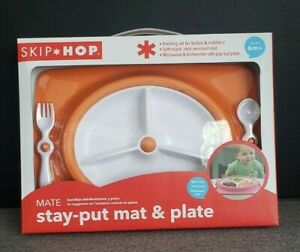 SKI*HOP Stay-Put Mat & Plate 6m+ Orange whit White