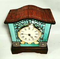 Glass mosaic mantle clock. Turquoise slag glass and dark espresso wood.  Quartz.