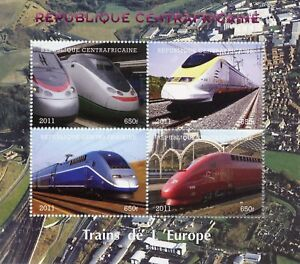 Central African Rep 2011 CTO High-Speed Trains of Europe Eurostar 4v M/S Stamps