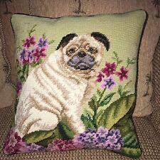 "Brand New Pug Dog 100% Wool Handmade Needlepoint Pillow 15""by 13"""