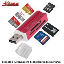 Rot Mini Alu Kartenleser USB Micro SD MMC SDHC M2 Card Reader Adapter Win