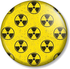 Nuclear Warning Sign Pattern 25mm Pin Button Badge Zombie Apocalypse Symbol Aged