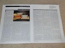 Conrad-Johnson Premier uno, Tre Tube Review, 2 Pg , 1984