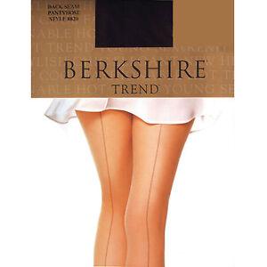 Berkshire TREND Sheer Leg Back Seam Non Control Black Pantyhose Size 1-2
