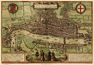 Old, Vintage Poster Map of London in 1572 reprint
