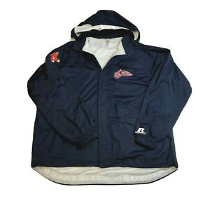 Lowell Spinners Russell Navy Blue Sfaff Rain Coat Jacket Mens Size Large Hood