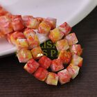 New 10pcs 10mm Cube Square Faceted Glass Loose Spacer Colorful Beads Red&Yellow