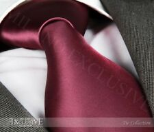 New Men's Designer Burgundy Silk Tie