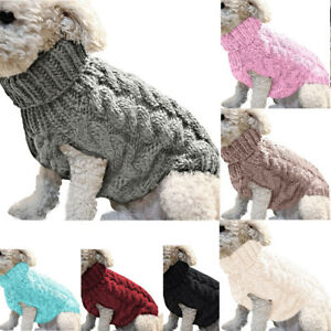 Dog Puppy Pet Cat Knit Polo-Neck Clothes Jacket Sweater Warm Costume Apparel New