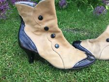 Dune Victorian Brogue Style Leather Boots - Size 40 Size 7 Black Beige Steampunk