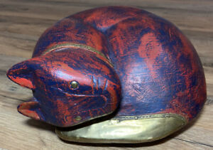 Wooden Hand Carved Curled Up Sleeping Kitty Cat Mantle Figurine Red Brass Detail