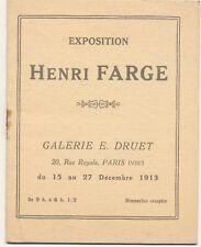 Henri FARGE fascicule exposition 1913 galerie Druet liste oeuvres