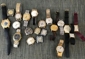 Lot of 20 Vintage Men's Watches Bulova Longines Gruen Timex Seiko