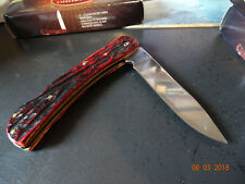 "5"" CLOSED VOSS CUTLERY RED PICK BONE LOCK BACK POCKET KNIFE JIGGED HANDLE 440 S."