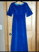 Vintage 1960' s womens blue velvet maxi dress empire waist velour 60's size xs