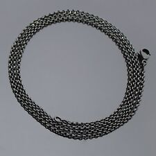 LONG 60CM BLACK STAINLESS STEEL 2MM ROLO CHAIN MENS WOMENS UNISEX NECKLACE