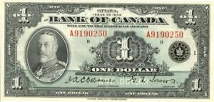 Canada $1 Dollar Currency Banknote 1935