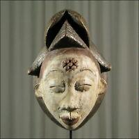 42965) Afrikanische Punu Holz Maske Gabun Afrika KUNST