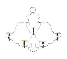 Hollywood Regency Wrought Iron Brass Pricket Wall Sconce Hanging Candle Curtain