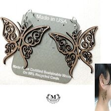 """Transformation"" Butterfly Tattoo Wood Earrings (USA)~by Miasto (Light Weight)"